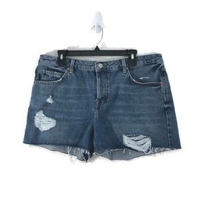 Topshop Moto Ashley Jean Short Raw Hem Distressed